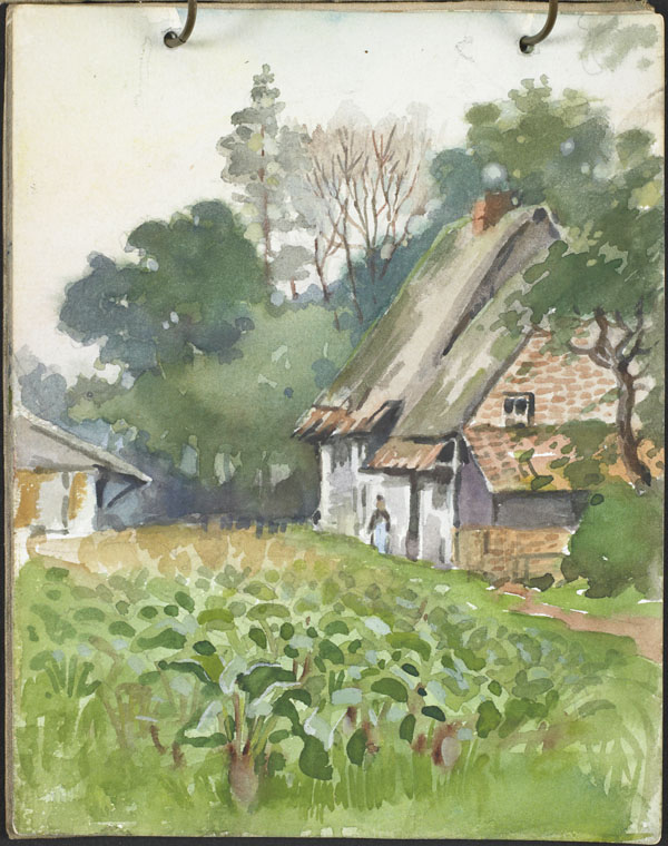 Thatched cottage near a cultivated field