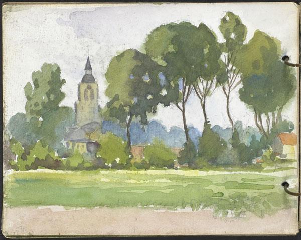 Vue d'un village et d'une église depuis les champs
