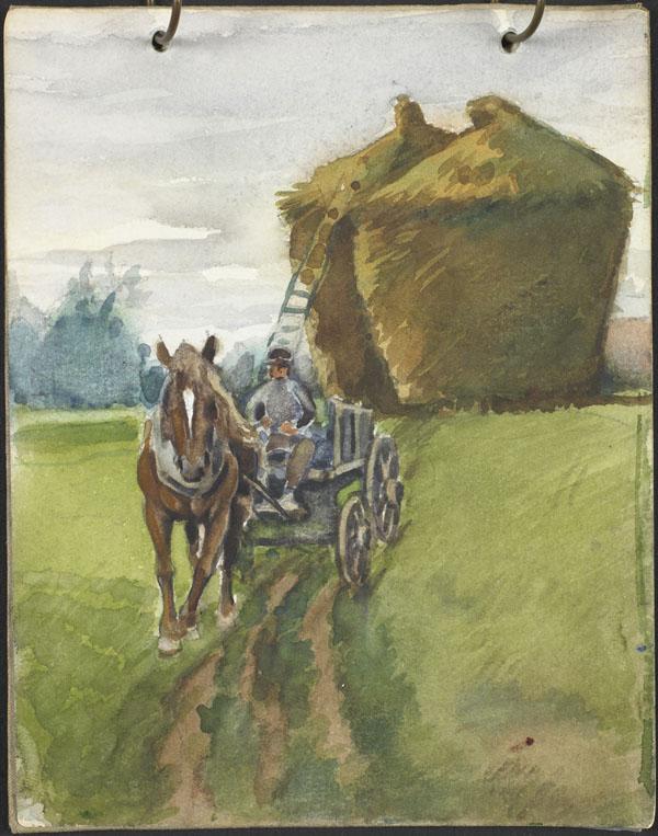 Large haystacks, a man and his horse-drawn cart