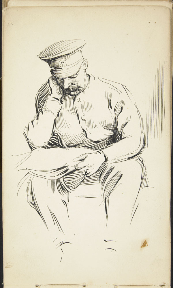 Seated soldier, reading
