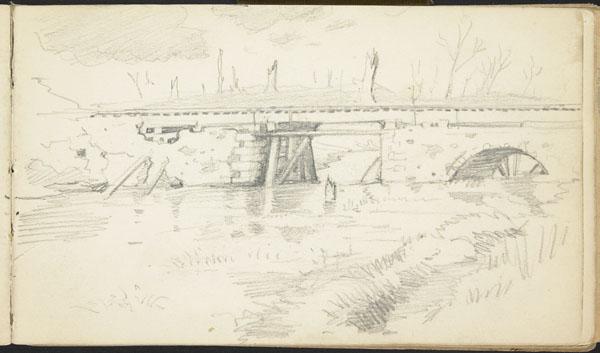Pont ferroviaire croulant dans un paysage riverain décimé, Belgique