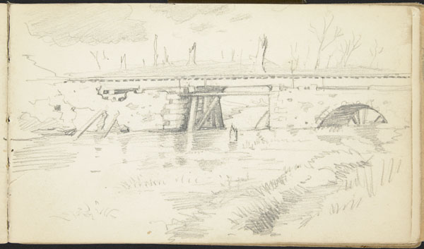 War-torn river landscape with shelled railway bridge, Belgium