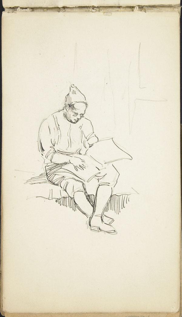 Seated man reading, Belgium