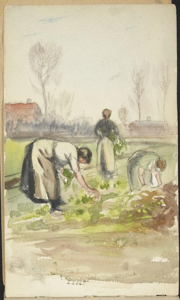 Three peasants harvesting crops, Belgium