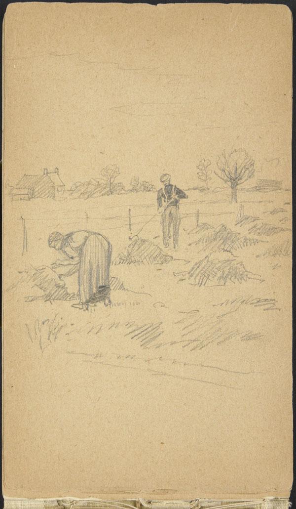 Paysans effectuant une récolte, Belgique (e008315495)