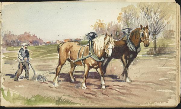 Man leading a two-horse plough through a field, Belgium