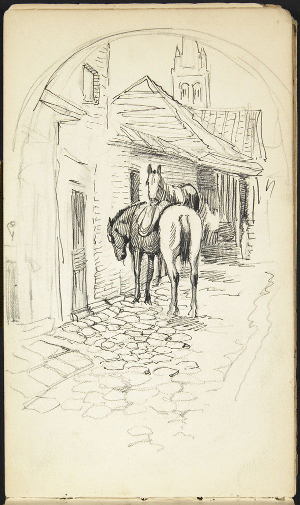 Horses seen from under an archway, Poperinge