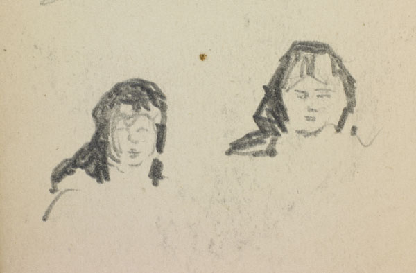 Studies from the turnip harvest, Belgium (detail of women with black head scarves)