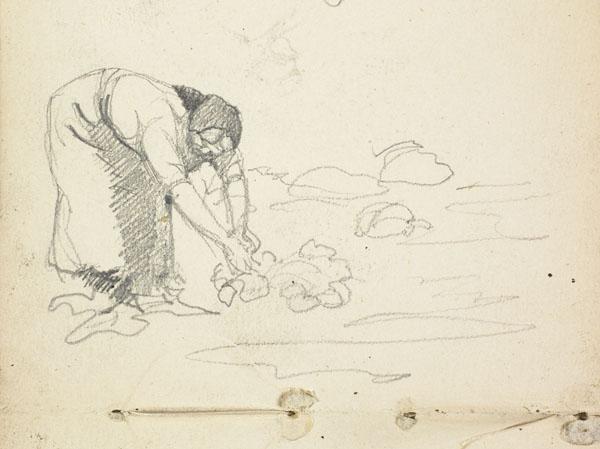 Études de paysannes récoltant des navets, Belgique (détail d'une paysanne récoltant des navets)