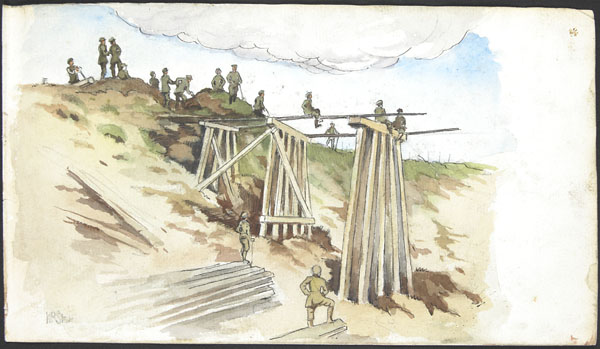 Men of the 1st Battalion, Canadian Railway Troops building the Frevent trestle bridge