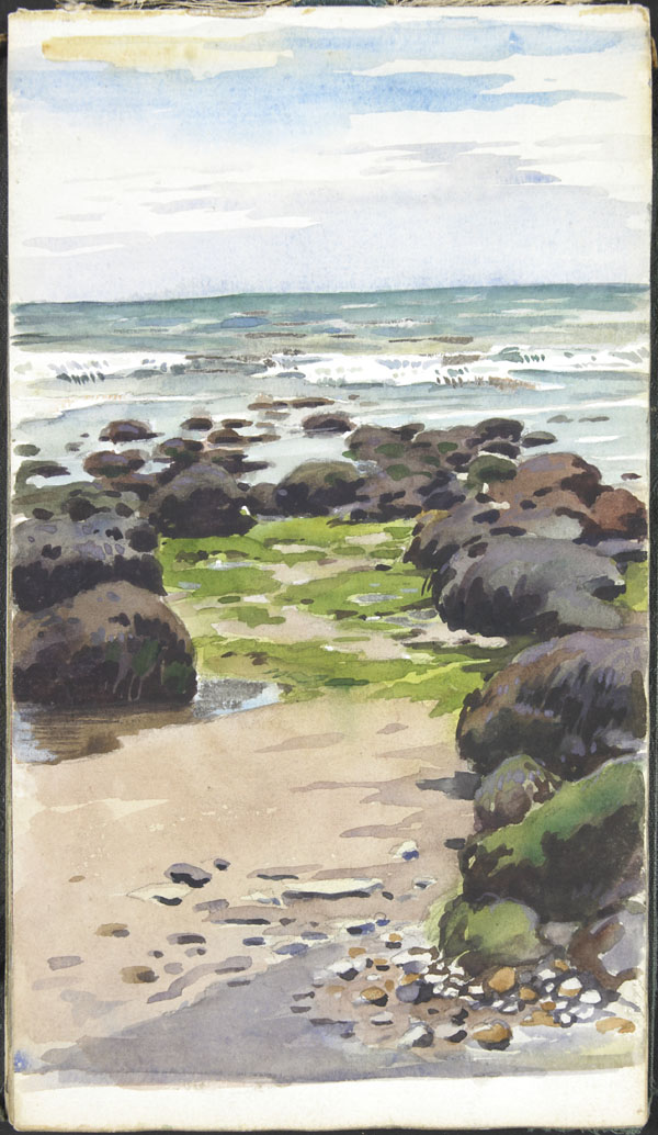 Seascape with rocks and algae, Wimereux