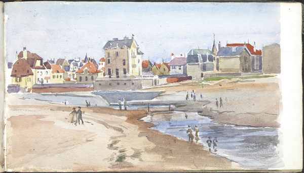 Beachfront at low tide, Wimereux, with a view of the Carillon Hotel