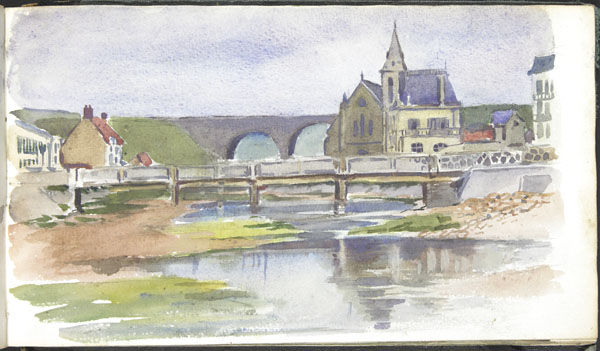 View of Wimereux showing the church of the Immaculate Conception and the Wimereux viaduct.