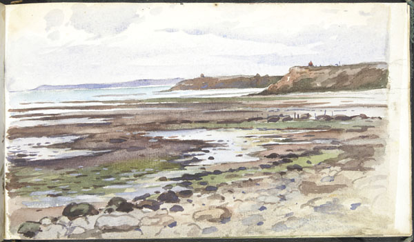 Low tide at Wimereux, looking towards La Rochette, with a view of Alfred Giard's laboratory on Pointe aux Oies, and Cap Gris Nez in the distance