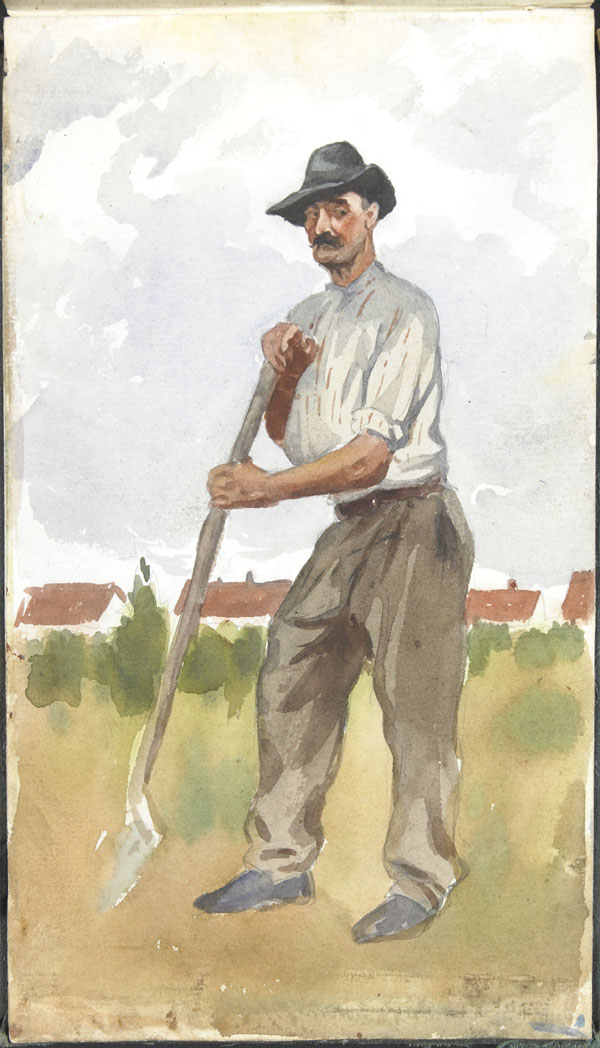 Portrait of a peasant leaning on a shovel, Pas-de-Calais