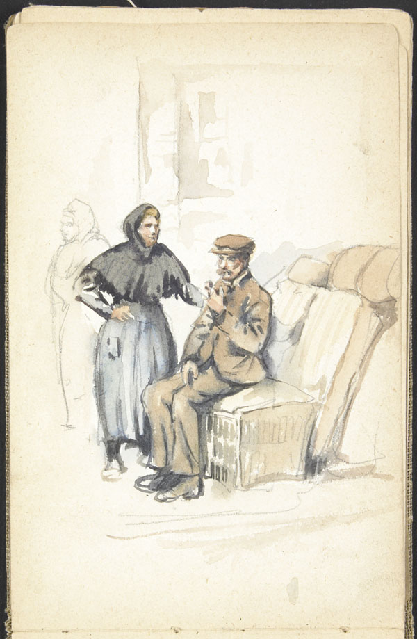Man and woman waiting while watching their bundled possessions