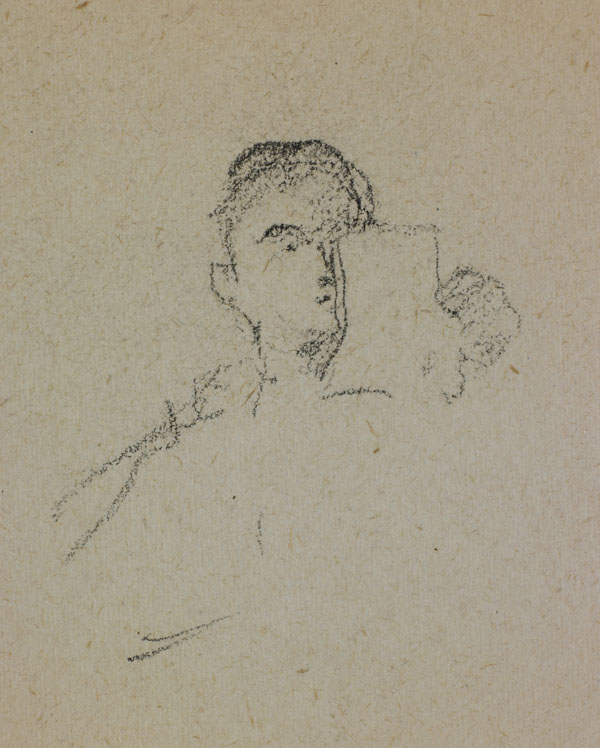 Two studies of men's heads (detail of a man reading a piece of paper)