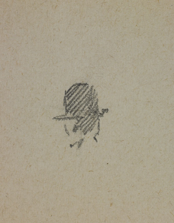 Two studies of men's heads (detail of a man with a hat)