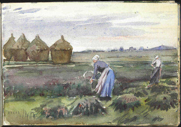Femmes effectuant la moisson, avec une vue lointaine d'un terril minier, Pas-de-Calais