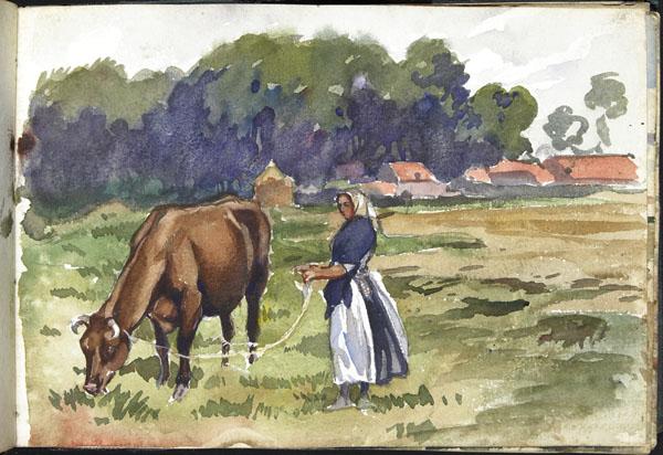 Woman holding a cow by a lead, Pas-de-Calais