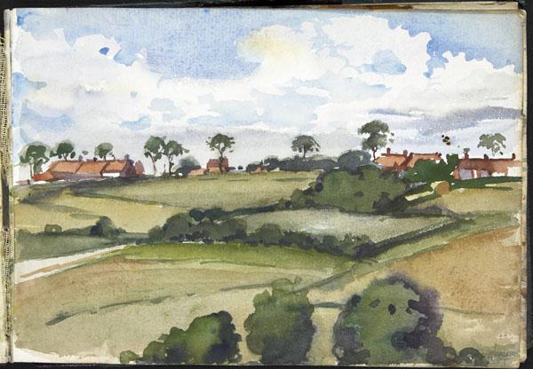 View of a hamlet in a hilly landscape, Pas-de-Calais