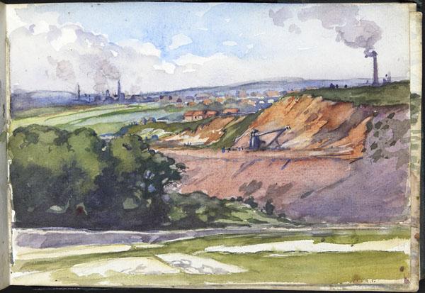 Mines de charbon vues du quartier de Rimbert, Auchel, Pas-de-Calais