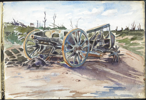 German field gun captured a few days previous to sketch by the Imperial army advance in Sept 1918