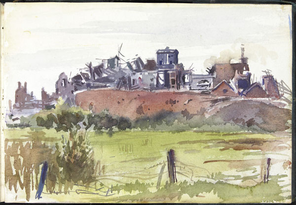 View of a bombed-out village, Somme