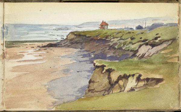 Vue du laboratoire d'Alfred Giard sur la Pointe aux Oies avec le Cap Gris Nez à l'horizon, Wimereux