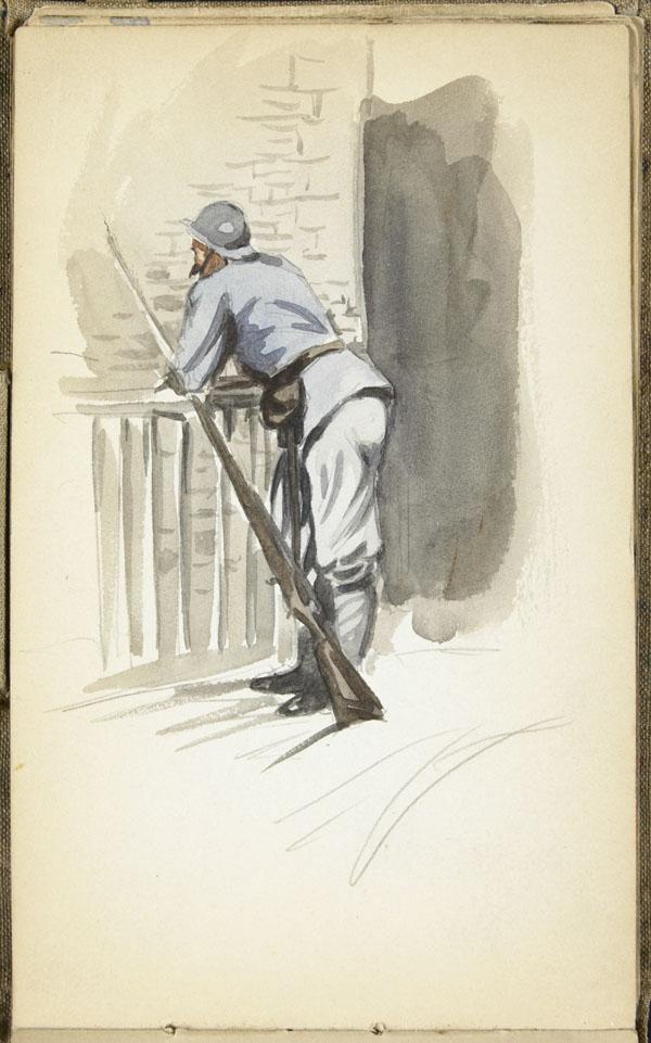 Poilu, accoté sur une rampe, Pas-de-Calais