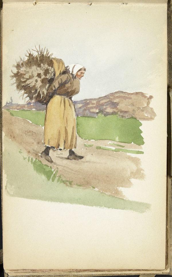 Femme transportant une gerbe de blé sur son dos, Pas-de-Calais