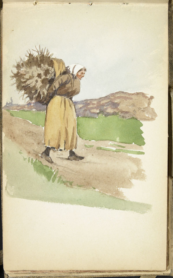 Woman carrying a wheat sheaf on her back, Pas-de-Calais