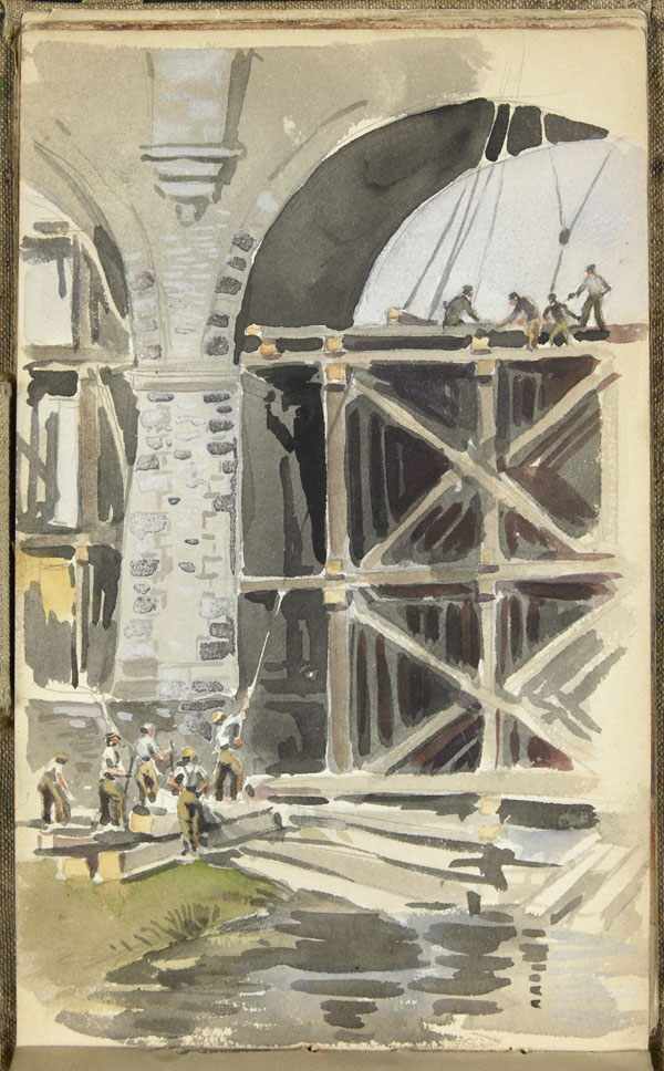 Men of the 1st Battalion, Canadian Railway Troops reinforcing the Wimereux viaduct