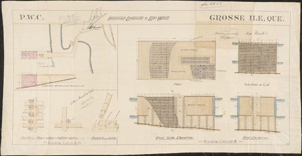 Plan consisting of various drawings of a wharf from different angles