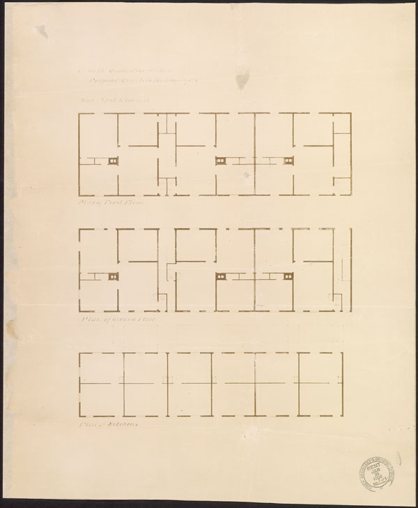 Plan showing the interior view of a large building with many rooms