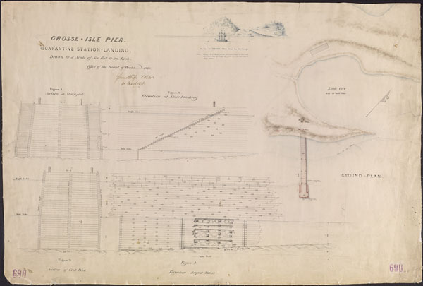 Plan consisting of various drawings of a wharf from different angles including one showing a ship docked at the port
