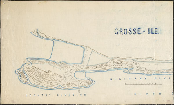 Hand-drawn map of Grosse le showing buildings and topographical elevation