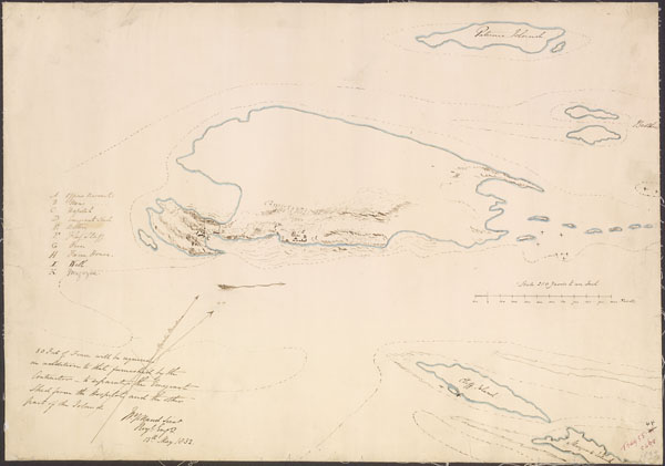 Hand-drawn map of Grosse��le and surrounding islands