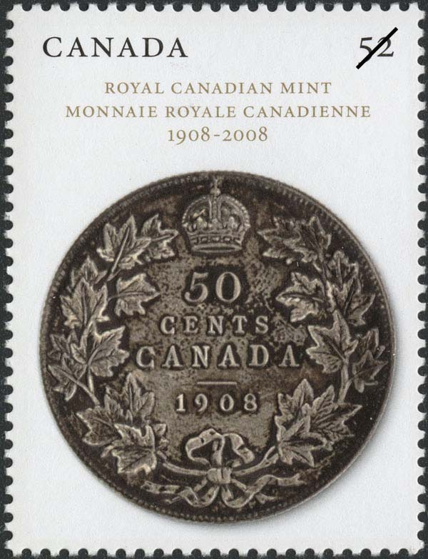 Fifty-two cent stamp issued on June 4, 2008, to commemorate the 100th anniversary of the Royal Canadian Mint. It shows the first coin struck in Canada, in 1908, a silver 50-cent piece. Canada Post Corporation.