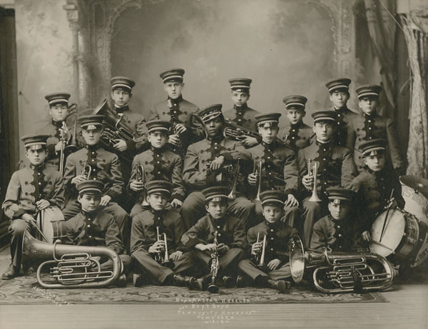 Bandmaster Wheeler and Boy's Brass Band Community Movement Pembroke, circa 1913