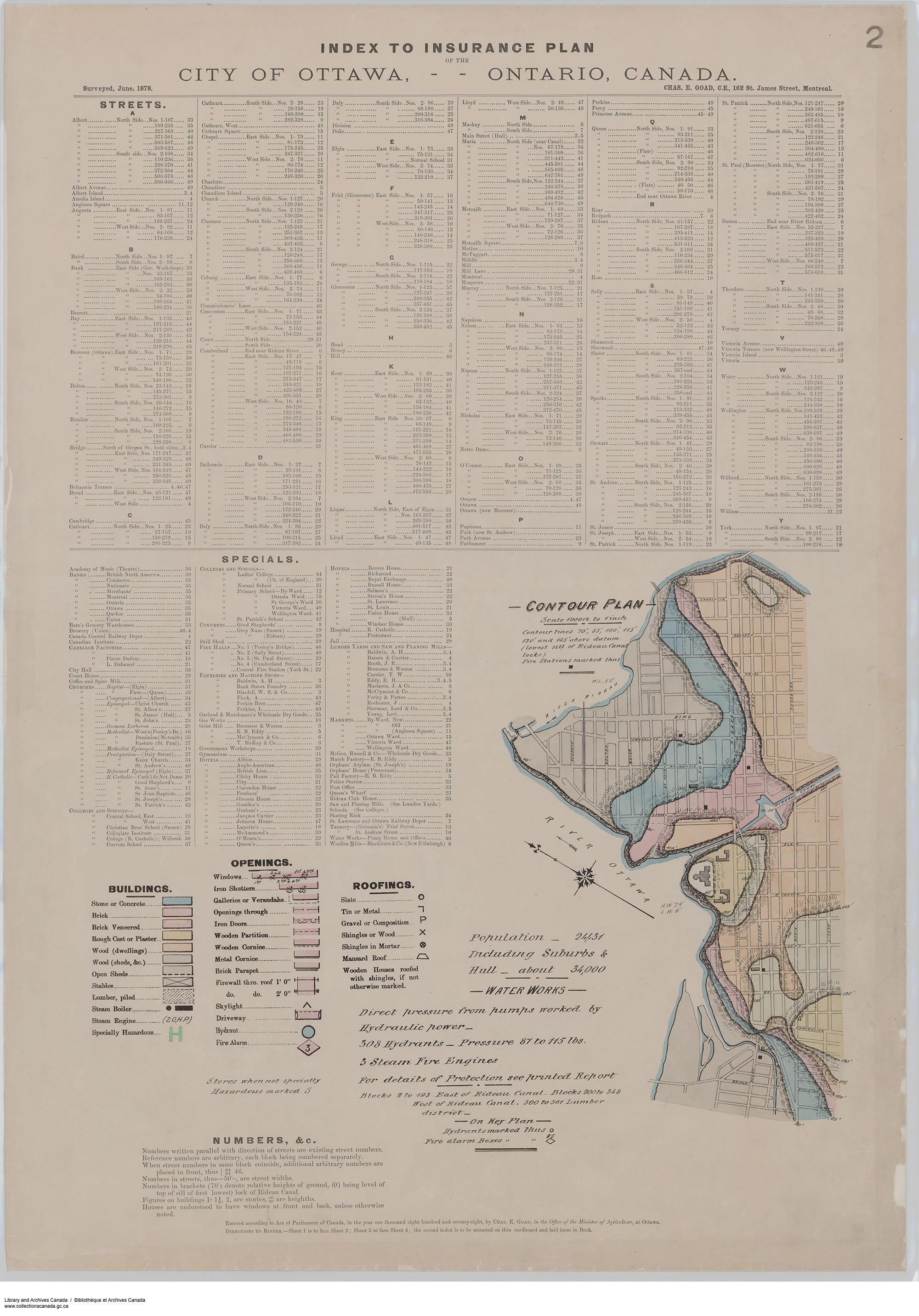 Sheet 2 - Index to streets and specials. Contour Plan. (item 2)