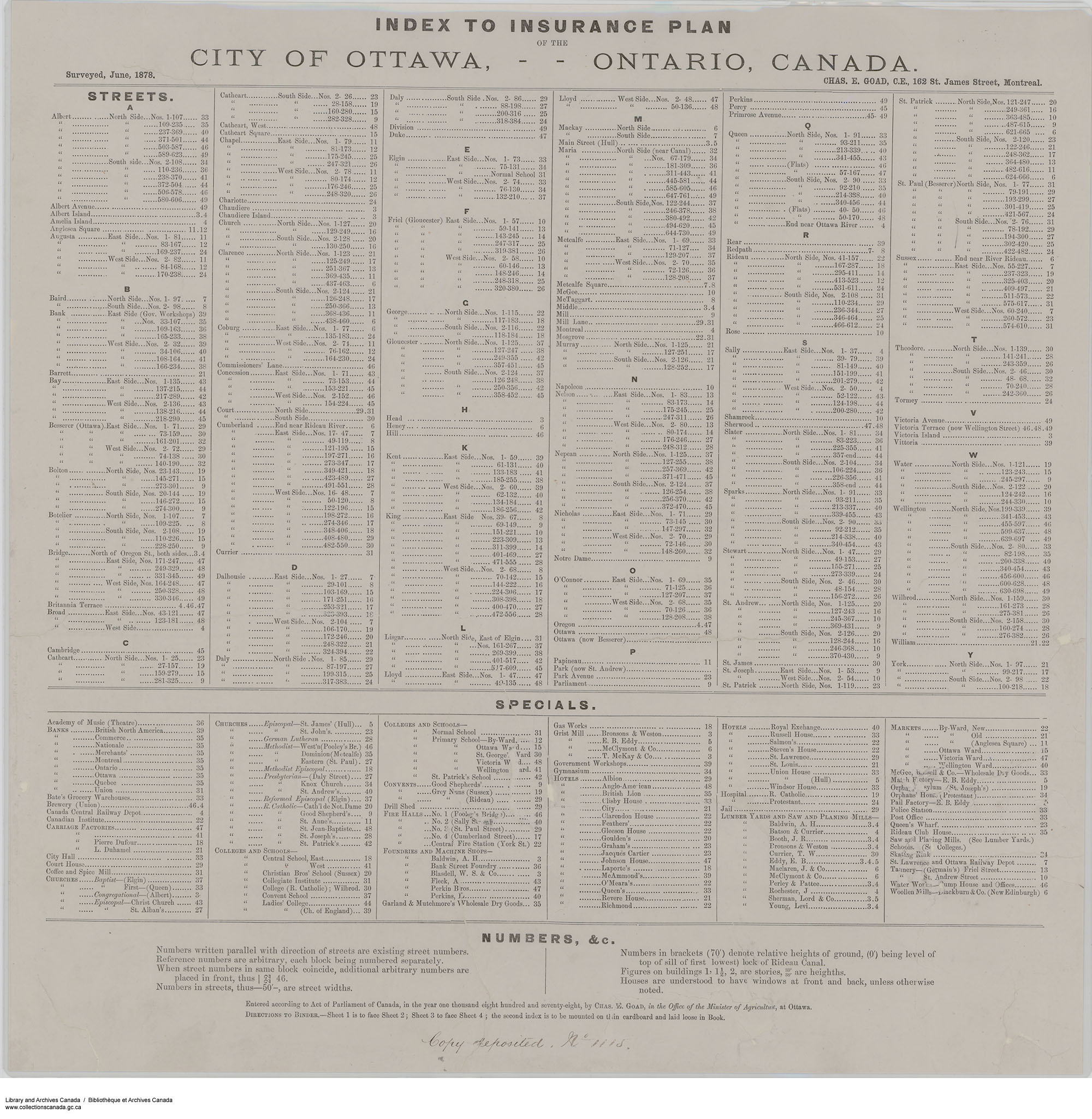 Insurance plan of Ottawa, Ontario, June 1878. (item 3)
