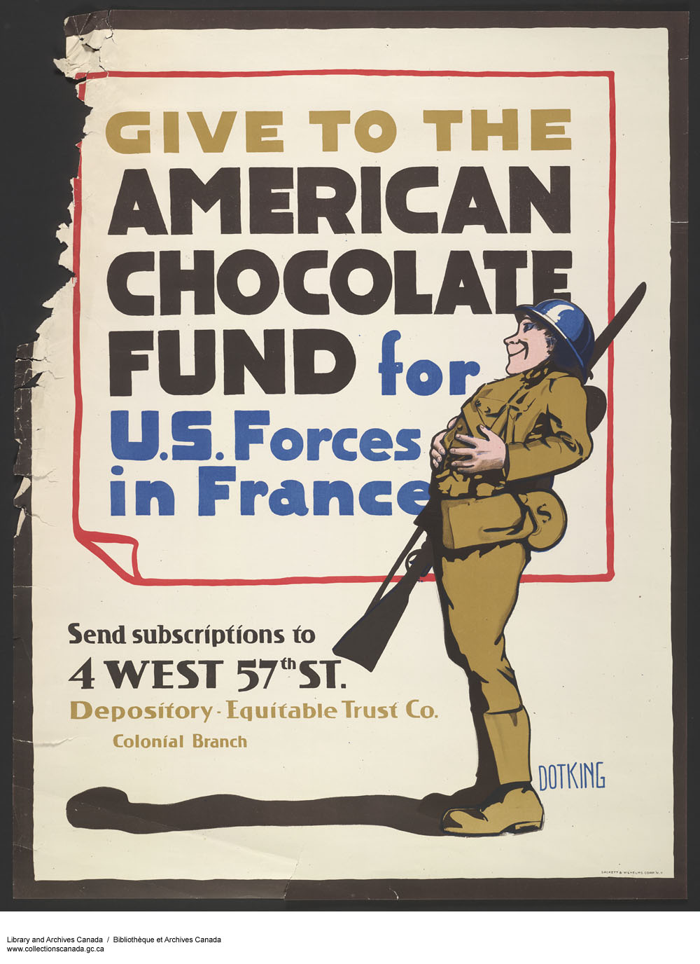 Give to The American Chocolate Fund for U.S. Forces in France. (item 1)