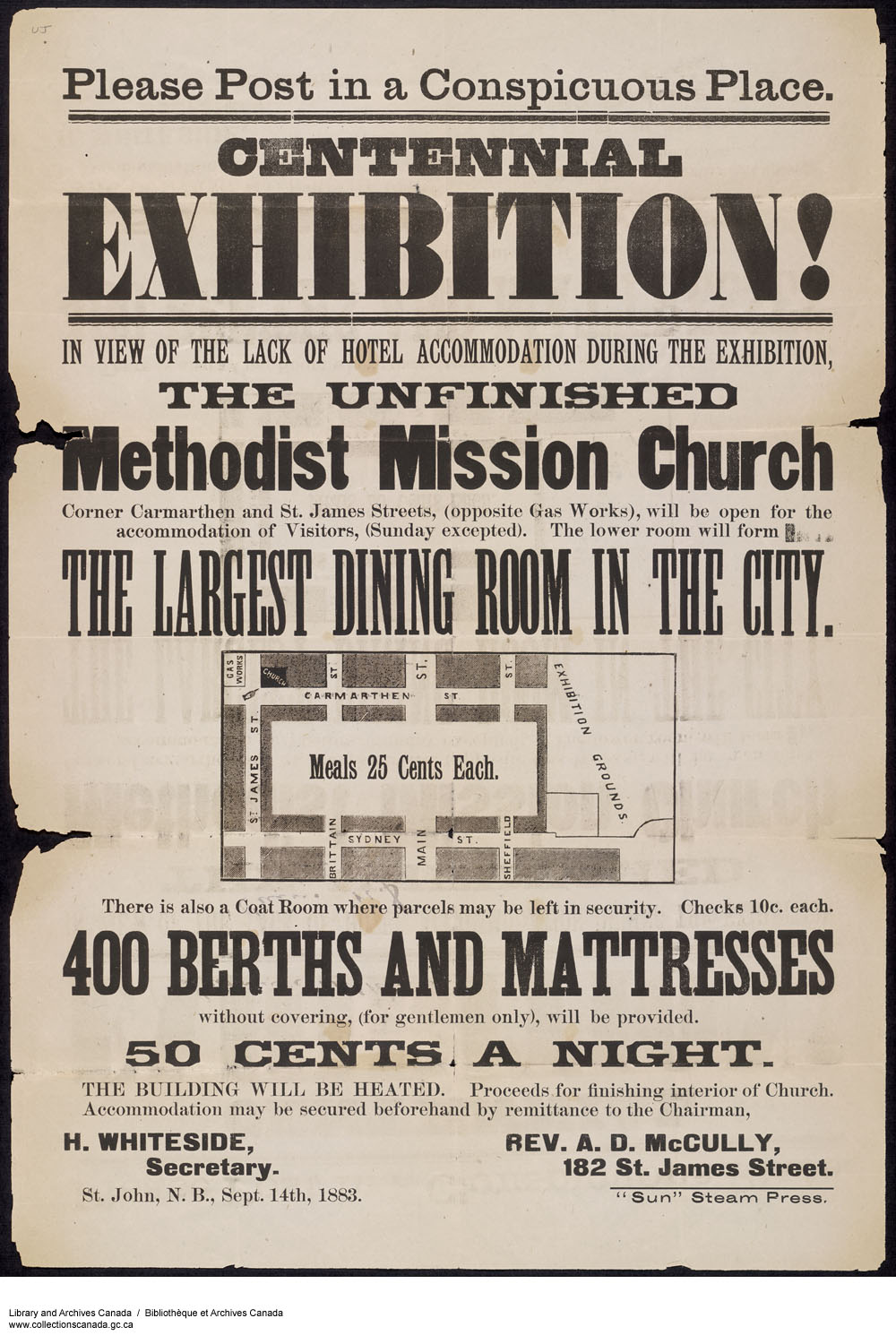 Please Post in a Conspicuous Place... Centennial Exhibition Methodist Mission. (item 1)