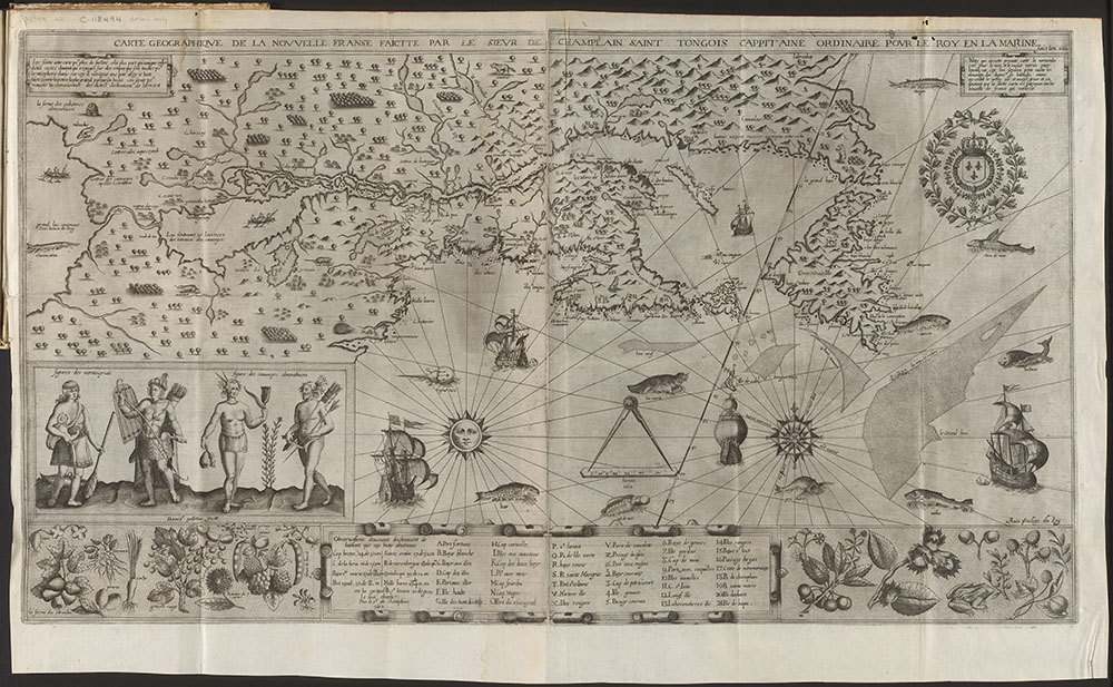 Geographical map of New France, Samuel de Champlain, 1612. Beautiful illustrations advertise the land's wealth to investors. Source: e010764733
