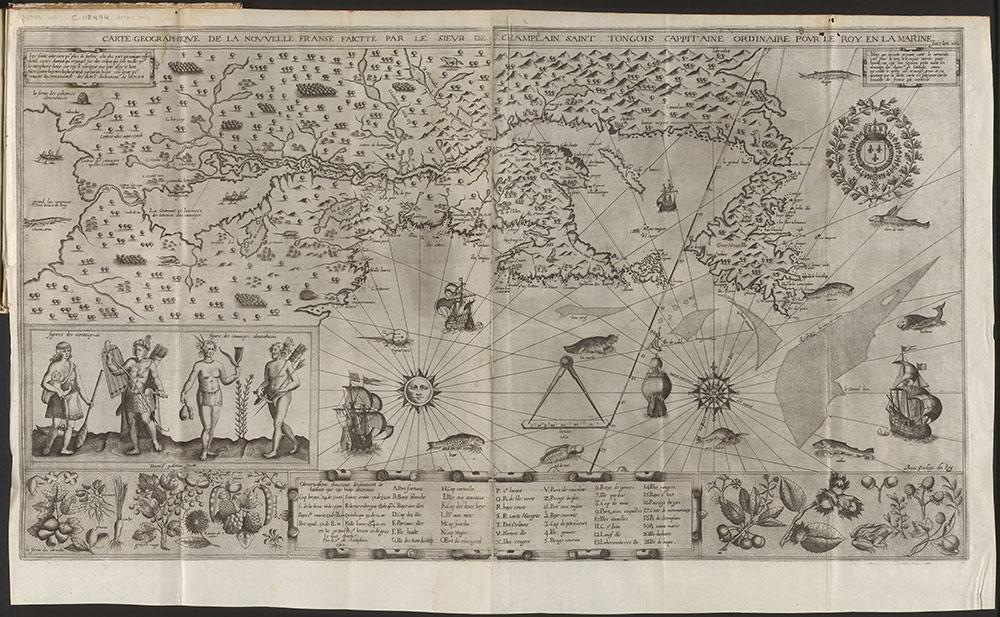 Carte geographique de la Nouvelle Franse, Samuel de Champlain, 1612. De magnifiques illustrations vantent les richesses du territoire aux investisseurs potentiels. Source : e010764733