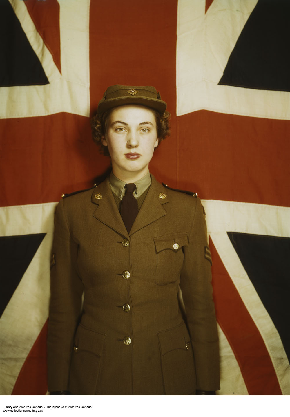 CWAC in front of Union Jack. (item 1)