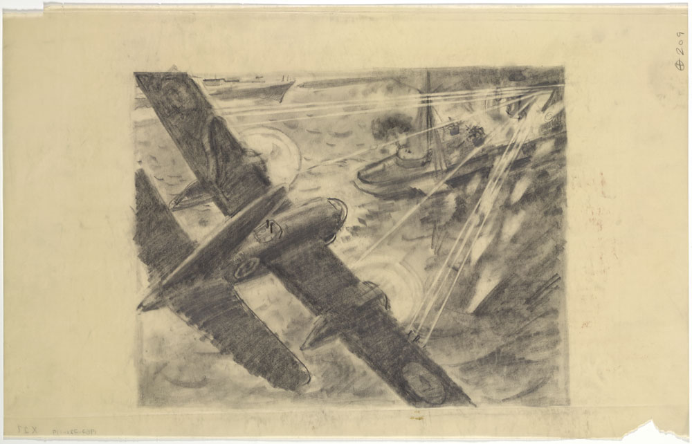Sketch of a Skirmish Between a Plane and a Ship. (item 1)