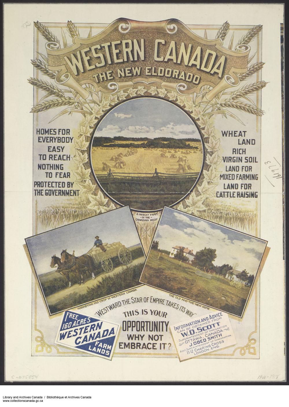 Affiche de promotion pour l'immigration dans les Prairies, vers 1890-1920. Source : C-085854