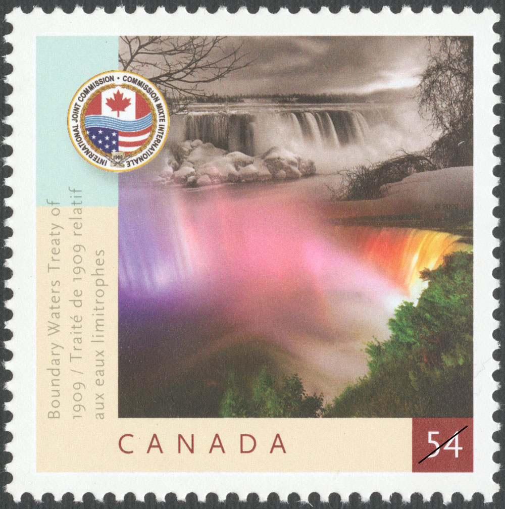 Boundary Waters Treaty of 1909: 54-cent stamp issued on June 12, 2009, Canada Post Corporation.